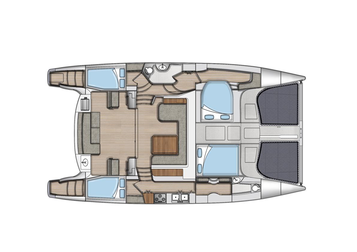 DAs Boot wird mit drei oder vier Kajüten ausgeliefert. Doch es gibt verschiedene Layoutvarianten.