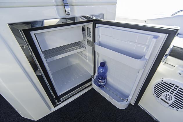 Pflicht-Option: Kühlschrank unterm Fahrersitz. Foto: Dieter Wanke