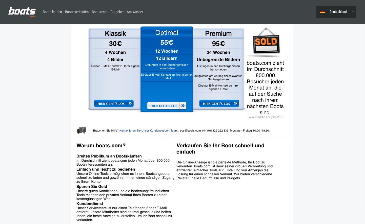 Anzeigenschaltung bei boats.com