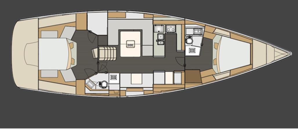 Eigners Reich: Die getestete Yacht wies das Zweikabinen-Layout auf mit großer Eignerkammer achtern.