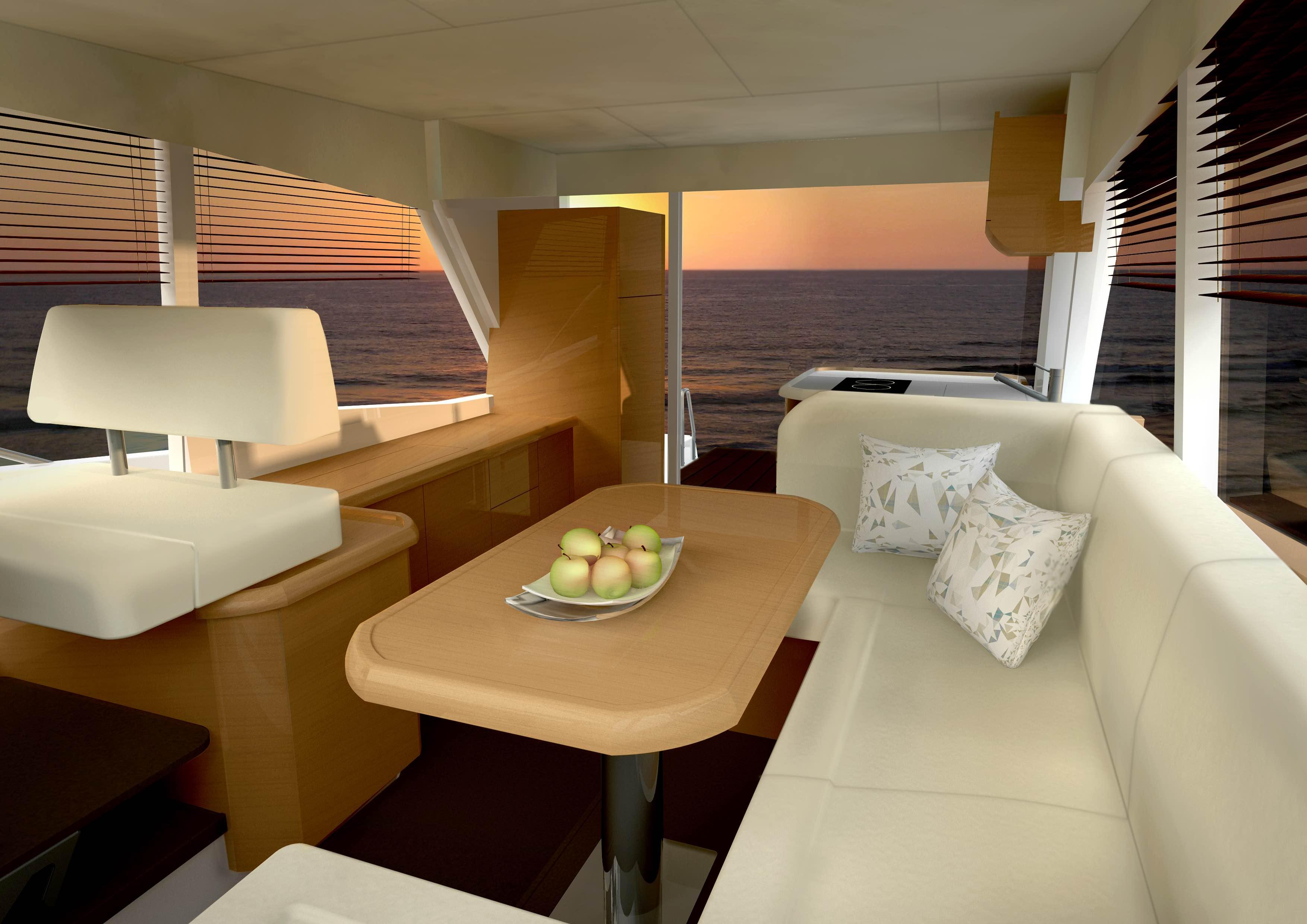 Meerblick von der Couch: Cockpit, Salon und Steuerstand befinden sich alle auf einer Ebene