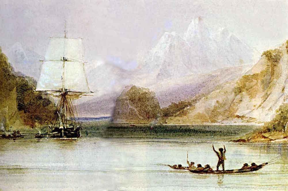 Darwins Beagle beid er Erkundung des nach ihr benannten Kanals in Feuerland, an de rSüdspitze des amerikanischen Kontinents., dargestellt auf einem Gemälde von Conrad Martens