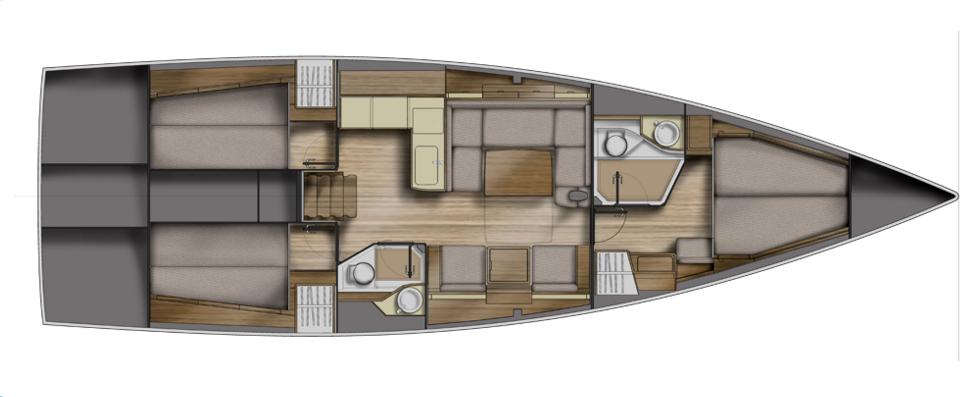 Das Dreikajütenlayout, das auf der Azuree 46 Standard ist.