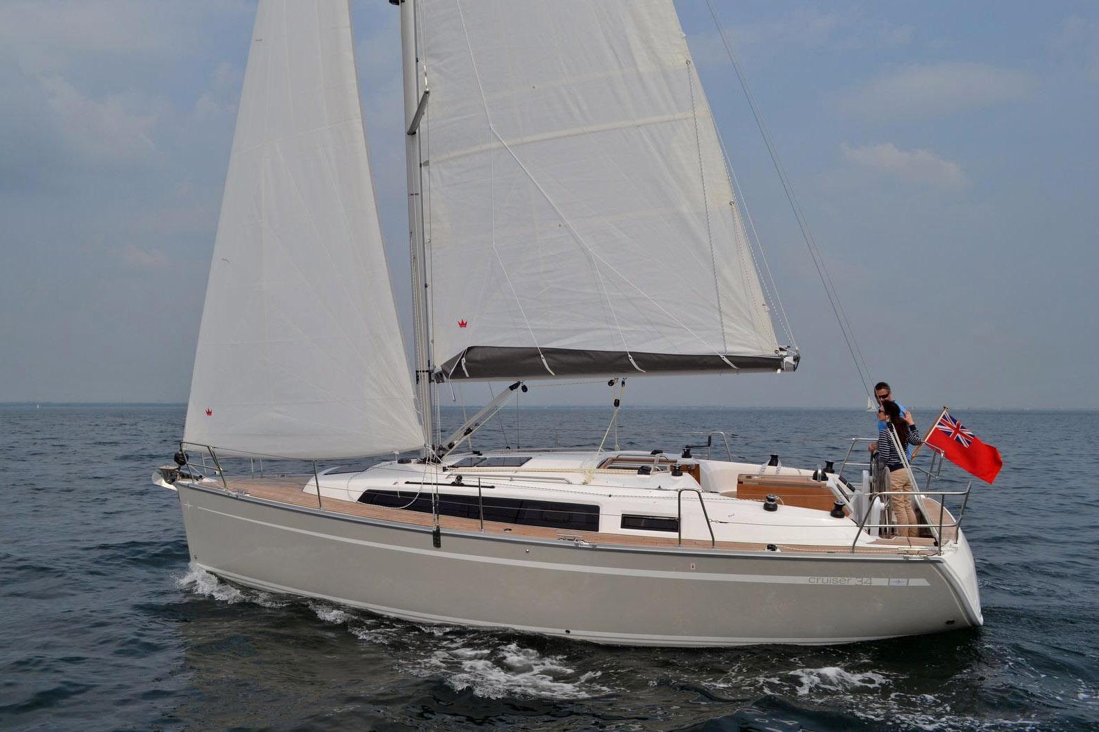 Dei Cruiser 34 mit Standardbesegelung . Dank Gewichtsersparnis durch Infusionsbauweise sind die Segelleistungen auch bei Leichtwind ansprechend.