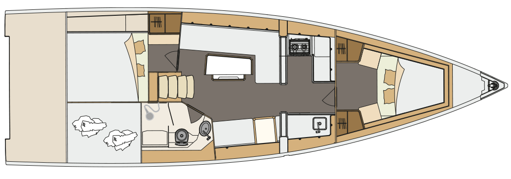 Das 2-Kajüten-Layout der GT5