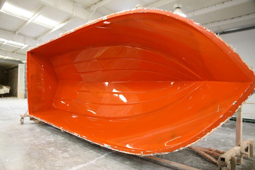 Aus diesem Negativ können zahlreiche absolut identische Kopien eines bestimmte Bootsmodells aus GFK gefertigt werden.