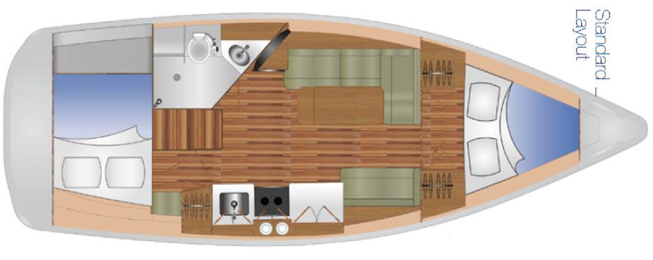 DAs Layout zeigt die Achterkoje, die quer zur Fahrtrichtung installiert ist. Das ist für Yachten dieser Größe eher selten.