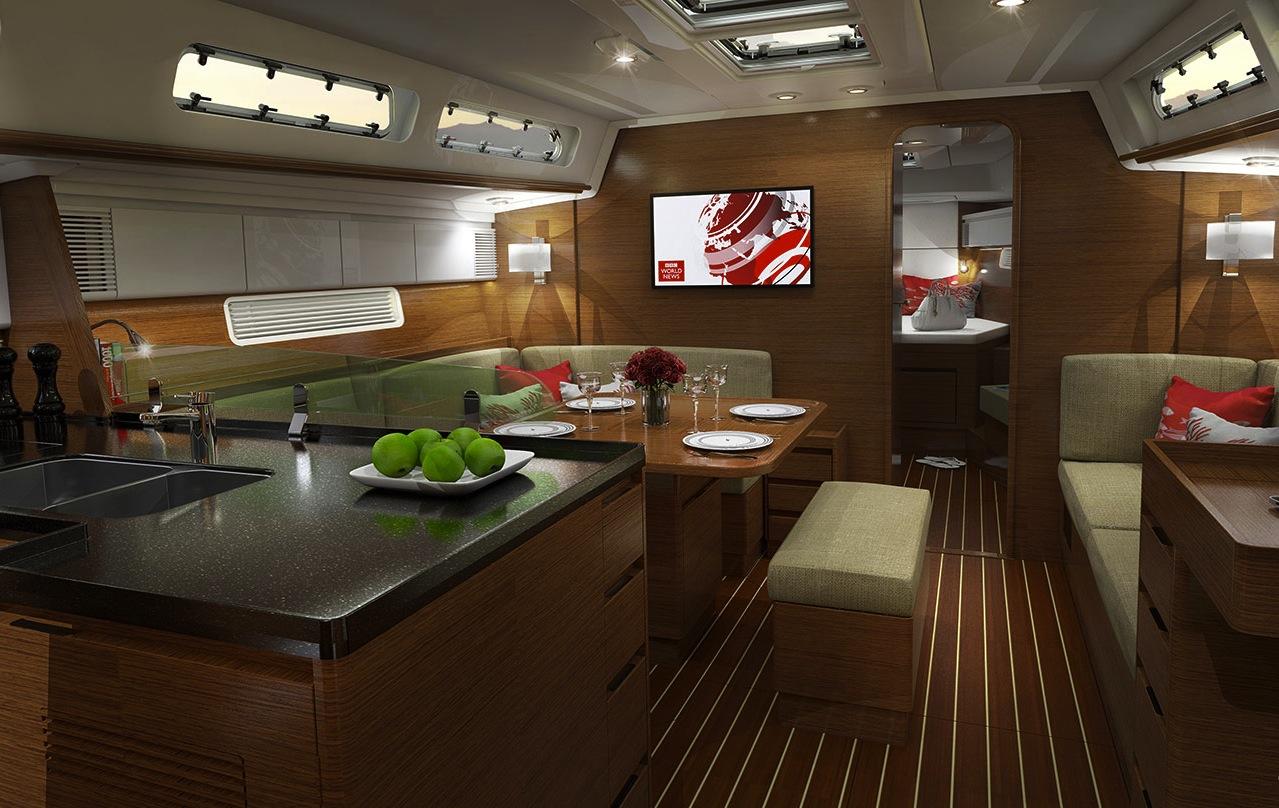 Raum zum Wohnen: Der Salon m it ausreichend en Sitzgelegenheiten für Crew plus Gäste, und strategisch platzierten Handläufen für Sicherheit bei schwerem Wetter.